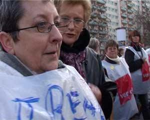 Demo der streikenden EinzelhändlerInnen