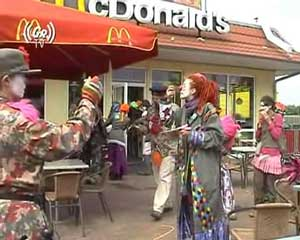 Quest for Ronald: Clowns visit McDonalds